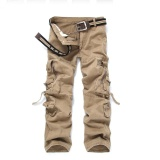Price Men Casual Cargo Pants Multi Pocket Military Overall Outdoors Hiking Mountain Climbing Long Pants Trousers Spring Summer Beige Intl Oem Original