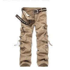 Review Men Casual Cargo Pants Multi Pocket Military Overall Outdoors Hiking Mountain Climbing Long Pants Trousers Spring Summer Beige Intl On China