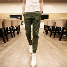 Sale Men Casual Harem Pant Male Slim Fit Shrinkage Foot Trousers Cotton Sport Jogger Feet Pant Army Green On China