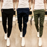 Top Rated Men Casual Harem Pant Male Slim Fit Shrinkage Foot Trousers Cotton Sport Jogger Feet Pant Blue Intl