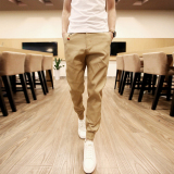 Best Buy Men Casual Harem Pant Male Slim Fit Shrinkage Foot Trousers Cotton Sport Jogger Feet Pant Khaki Intl