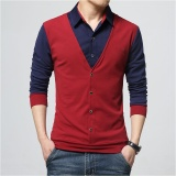 Best Buy Men Casual Slim Long Sleeve Shirt Fake Two Pieces Shirt Intl