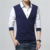 Best Deal Men Casual Slim Long Sleeve Shirt Fake Two Pieces Shirt Intl