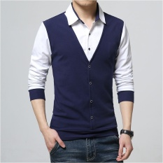 Buying Men Casual Slim Long Sleeve Shirt Fake Two Pieces Shirt Intl