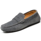 Cheap Men Casual Suede Leather Slip On Driving Shoes Moccasin Loafer Flat Casual Shoes Grey Intl