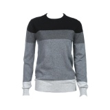 Wholesale Men Casual Three Color Stitching Round Neck Long Sleeve Warm Sweater Intl