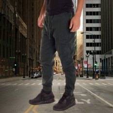 Get The Best Price For Men Chino Jogger Pants Casual Drop Crotch Jogging Twill Blackish Green Intl