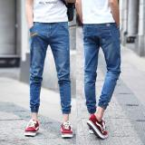 For Sale Men Cropped Jeans Korean Street Nine Pants Elastic Closed Foot Pants Slim Denim Skinny Pants Leisure Teens Pants Casual Student Trousers Intl