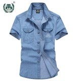 Great Deal Men Denim Short Sleeves Cotton Breathable Casual Shirts Intl