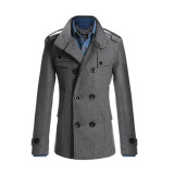 For Sale Men Double Breasted Coat Fashion Winter Jacket Overcoat Windbreaker Intl