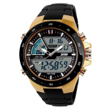 Compare Prices For Men Dual Display Waterproof Multi Function Led Sports Watch Gold