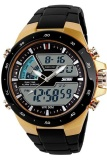 Men Dual Display Waterproof Multi Function Led Sports Watch Gold Lower Price