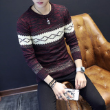 Sale Men Fall Thin Teenager Knit Shirt Korean Style Sweater Wine Red Color