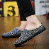 Cheap Men Fashion Casual Loafer Slip On Linen Shoe Black Intl