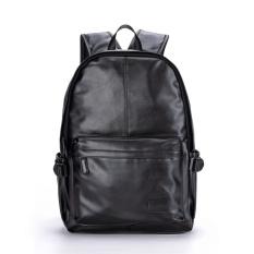 Purchase Men Leather Backpack Pu Sch**l Bag Laptop Backpack Hiking Travel Bag Black Intl Online