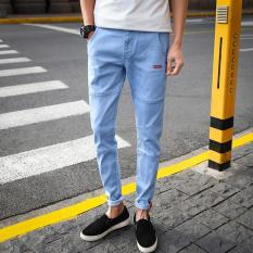 Compare Prices For Men Long Jeans Korean Street Nine Pants Cropped Pants Slim Denim Skinny Pants Leisure Teens Pants Casual Student Trousers Intl