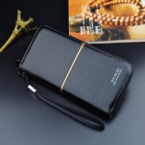 Price Comparisons For Men Long Pursue Zip Wallet Business Handbag Male Leather Wallet Clutch Card Holder Intl