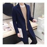 Get Cheap Men Long Section Winter New Woolen Windbreaker Jacket Male Korean Version Of The Trend Of Handsome Slim Woolen Coat Navy Intl