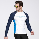 Sale Men Long Sleeve Swimwear Swim Surf Rash Guard Shirts Diving Snorkeling Top Wetsuit White
