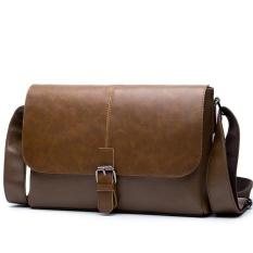 Men Messenger Bags Crossbody Bag Leather Casual Business Satchel Man Satchels Mens Travel Shoulder Bags ( Coffee )26X20X9cm - Intl - intl