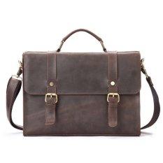 Coupon Men New Head Cow Leather Bag Handbag Retro Business Briefcase Bag Size 34 6 25Cm Intl