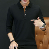 Men New Men Plain Long Sleeve T Shirt Qiu Yi Black Black Free Shipping