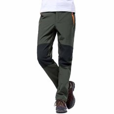 Get The Best Price For Men Outdoor Sport Hiking Mountain Softshell Pants Windproof Waterproof Winter Warm Fleece Climbing Camping Trousers Army Green Intl