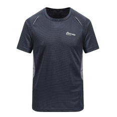 Coupon Men Outdoor Sports Quick Dry Short Sleeve Wicking T Shirts Stretch Hiking Mountain Climbing Athletic Workout Tees Tops Dark Grey Intl