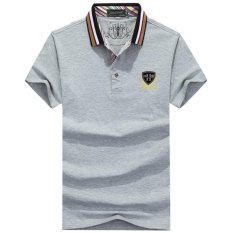 Latest Men Polo Shirt New Summer Casual Striped Cotton Men S Polo Solid Polo Shirt Polo Ralp Men Grey 1 Intl