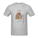Best Reviews Of Men Pusheen The Cat Diy Cotton Short Sleeve T Shirt Grey Intl
