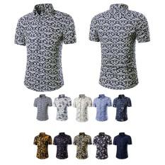 19fc98d424 Men Shirt Turn-down Collar Slim Fit Casual Beach Flower Print Short Sleeve  Shirts -