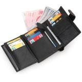 Discount Men Short Trifold Wallet Black Cow Genuine Leather Wallet Many Card Slots Purse Men Wallets Intl