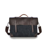 Best Rated Men Shoulder Messenger Bag Retro Briefcase Leisure Business Man Bag Black Intl