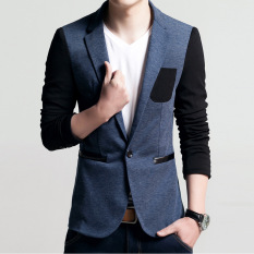 Low Cost Men Slim Fit Fashion Cotton Blazer Suit Jacket Male Blazers Mens Coat Wedding Dress Blue Intl