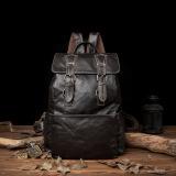 Sale Men Soft Cow Leather Backpacks Big Capacity Dark Brown Full Grain Leather Bags Size 30 40 15Cm Intl Oem