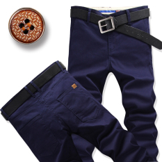 Men Straight Slim Fit Plus Sized Men S Pants Casual Pants Dark Blue Color Lowest Price