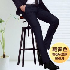 Best Reviews Of Men Straight Slim Suit Pants Casual Office Business Work Formal Male Trousers Intl