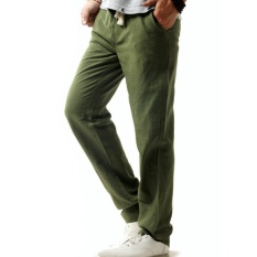 Great Deal Men Summer Linen Cotton Casual Pants Solid Thin Fitness Sweatpants Straight Trousers Plus Size 5Xl Intl
