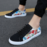 Sale Men Summer New Style Low Top Shoes Canvas Shoes Black Fabric