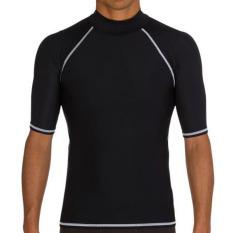 Compare Men Swimwear Summer Short Sleeve Diving Rashguard Surf Snorkeling Swim Tee Tops T Shirts Black