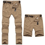 Wholesale Men Waterproof Outdoor Pants Cycling Breeches Outdoor Trouper Two Detachable Disjointed Trousers Khaki Intl