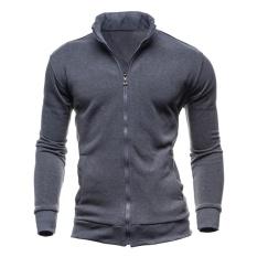 Sale Men Winter Casual Sport Solid Color Cotton Jacket Outerwear Dark Grey Intl