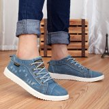 Buy Men Women Canvas Relaxed Fit Lace Up Casual Cowboy Ankle Shoes Fashion Unisex Flat Canvas Sneakers Shoes Casual Distressed Denim Shoes Lovers Canvas Shoes Intl