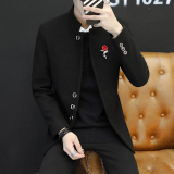 Men S Collar Mid Length Korean Style Slim Fit Top Suit 8808 Black Coupon