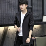 Men S England Style Hooded Long Athletic Jackets Standare Outdoor Coats With Solid Black Intl Shop