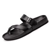 Low Cost Men S Fashion Word Flat Slippers Sandals Summer Men Sandals High Quality Soft Beach Flip Flops Eva Massage Slippers Black Intl