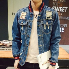 Promo Men S Korean Style Regular Plus Size Denim Jackets Standare Athletic Coats With Ripped Blue Intl