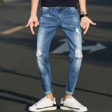 Men S Mid Waisted Hole Ankle Length Jeans Fashion Harem Pants Intl Compare Prices