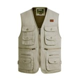 Best Men S Outdoor Photography Fishing Multi Pocket Tactical Functional Cotton Sleeveless Vest Beige Intl
