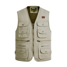Where To Buy Men S Outdoor Photography Fishing Multi Pocket Tactical Functional Cotton Sleeveless Vest Beige Intl